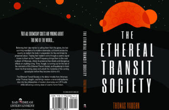 Full cover for Thomas Vaughn's debut novella, The Ethereal Transit Society. Designed by Viki Lester of Forensics and Flowers.